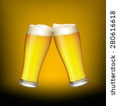 two glasses of beer on dark... | Shutterstock .eps vector #280616618