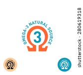 omega 3 symbol. natural product ... | Shutterstock .eps vector #280619318