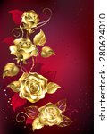 Gold Entwined Roses On Red...
