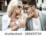 beautiful woman kissing her... | Shutterstock . vector #280653734