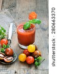 smoothie tomato and basil on a...   Shutterstock . vector #280663370