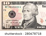 Ten Dollars Bill Fragment Of U...