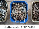 Boxes Of Old Rusty Metal Screw...