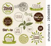 stevia and organic food label... | Shutterstock .eps vector #280688858