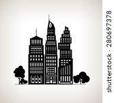 silhouette modern city with... | Shutterstock .eps vector #280697378