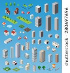 isometric city map road  trees... | Shutterstock .eps vector #280697696