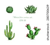 Watercolor Set Of Four Green...