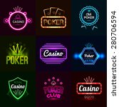 neon light poker club and... | Shutterstock .eps vector #280706594