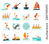 water sports flat icons set... | Shutterstock .eps vector #280709093