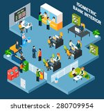 bank interior isometric with 3d ... | Shutterstock .eps vector #280709954