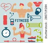 vector flat design of fitness... | Shutterstock .eps vector #280719284