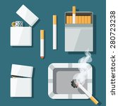 set of lighters  cigarettes and ... | Shutterstock .eps vector #280723238