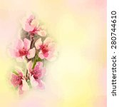 Greeting Floral Card With Peac...