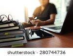 designer hand working with ... | Shutterstock . vector #280744736
