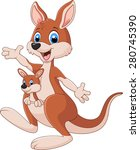 cartoon red kangaroo carrying a ... | Shutterstock .eps vector #280745390