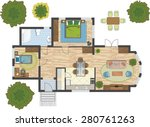 colorful floor plan of a house. | Shutterstock .eps vector #280761263