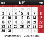 calendar for may  2016 | Shutterstock .eps vector #280764188