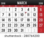 calendar for march  2016 | Shutterstock .eps vector #280764200