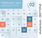 2016 calendar layout   vector... | Shutterstock .eps vector #280772918