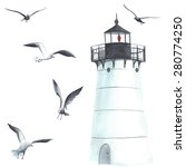 watercolor lighthouse and... | Shutterstock .eps vector #280774250
