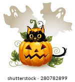black cat in a halloween... | Shutterstock .eps vector #280782899
