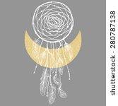 dreamcatcher and moon on gray... | Shutterstock .eps vector #280787138