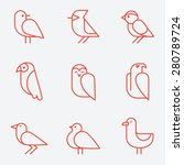 Stock vector bird icons thin line style flat design 280789724