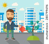 a man watering the growing...   Shutterstock .eps vector #280799696