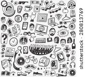 hipsters doodles set   set... | Shutterstock .eps vector #280813769