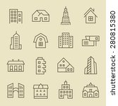 buildings line icon set | Shutterstock .eps vector #280815380
