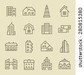 buildings line icon set | Shutterstock .eps vector #280815380