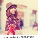 cool young woman with a gift   Shutterstock . vector #280817930
