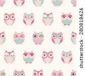 Stock vector seamless cute cartoon owls birds pattern background 280818626