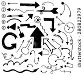 set of hand drawn unique doodle ... | Shutterstock .eps vector #280822979