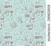 birthday seamless pattern. hand ... | Shutterstock .eps vector #280823006