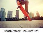 woman skateboarder... | Shutterstock . vector #280825724