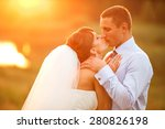groom and bride is kissing on... | Shutterstock . vector #280826198