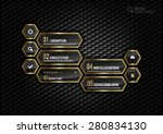 gold hexagons layout with icons ... | Shutterstock .eps vector #280834130