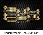 gold hexagons layout with icons ... | Shutterstock .eps vector #280834139