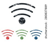 colored grunge icon set with wi ...