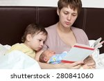 mother reading book for her... | Shutterstock . vector #280841060