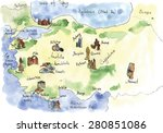 watercolor turkey attractions.... | Shutterstock .eps vector #280851086