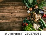 vegetables on wood. bio healthy ... | Shutterstock . vector #280875053