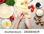 female hands cooking pizza on... | Shutterstock . vector #280884839