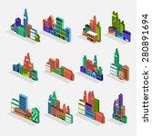 isometric building icon set... | Shutterstock .eps vector #280891694