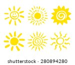 set of hand drawn sun icons.... | Shutterstock .eps vector #280894280