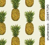 pineapple fruit pattern | Shutterstock .eps vector #280897190