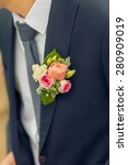 wedding boutonniere on suit of...   Shutterstock . vector #280909019