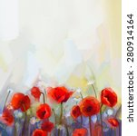 Oil  Painting Red Poppy ...