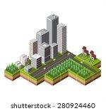 vector isometric city center on ... | Shutterstock .eps vector #280924460